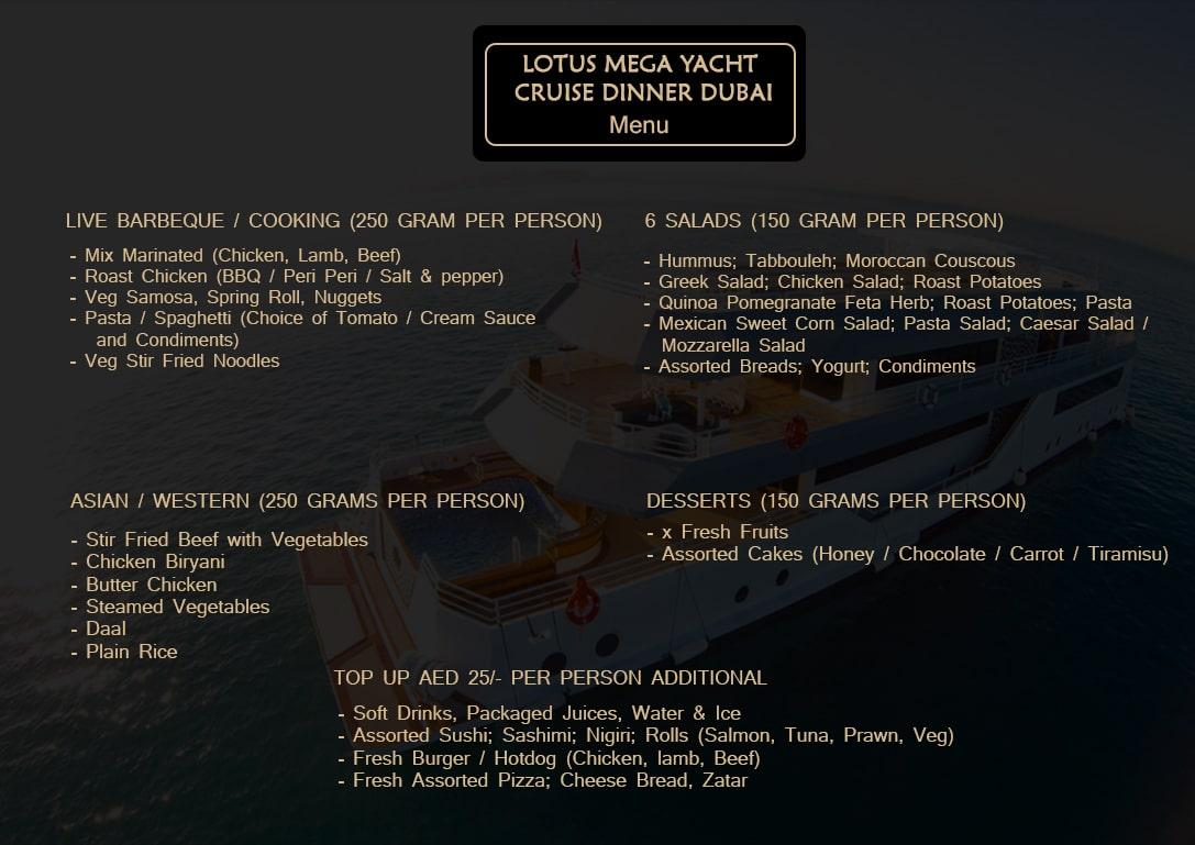 Lotus-Mega-Yacht-Cruise-Dinner-Dubai-Menu
